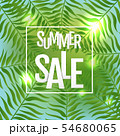 Summer Sale Poster With Tropical Leaf 54680065