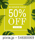 Green Sale Background With Leaves 54680069