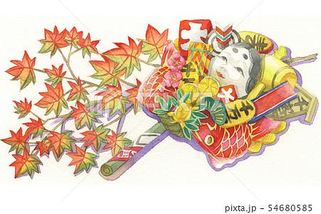 日本の年中行事イラスト:11月/熊手と紅葉 54680585