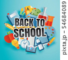 Back to school banner with education items  54684089