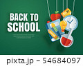 Back to school banner with education items hanging 54684097
