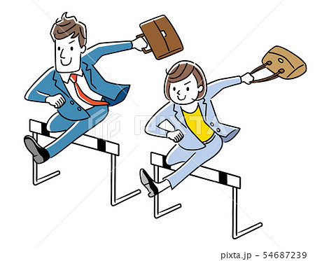 ハードルを飛び越えるビジネスマンとビジネスウーマン 54687239