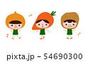 野菜のイラスト。玉ねぎとにんじんとじゃがいものキャラクターたちが楽しく踊っている。 54690300