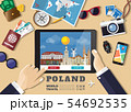 Hand holding smart tablet booking travel 54692535