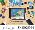 Hand holding smart tablet booking travel 54692544