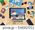 Hand holding smart tablet booking travel 54692551