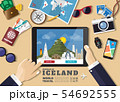 Hand holding smart tablet booking travel 54692555