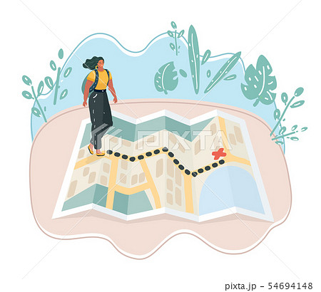 Woman walking towards unknown places. 54694148