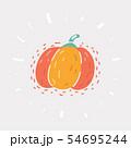 Cartoon pumpkin on white. 54695244