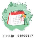 Woman with calendar schedule board. 54695417