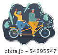 Couple riding on tandem bicycle outdoors 54695547