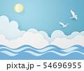 ペーパークラフト-空-雲-太陽-海-鳥 54696955