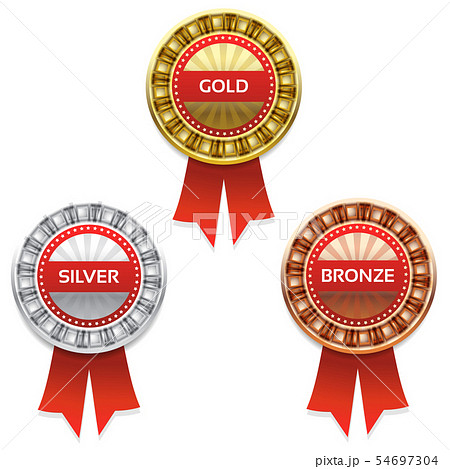 Gold, silver and bronze awards. Vector.  54697304