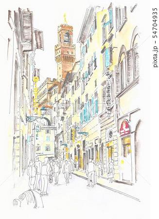 世界遺産の街並み・イタリア・フィレンツエ旧市街の路地 54704935