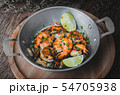 Cooked shrimp prawns with spicy seasoning. 54705938