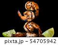 Skewer shrimps burnt grilled with spice seasoning. 54705942