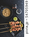 Japanese style skewers chicken meat grilled. 54705949