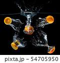 Water droping slice orange fruits. 54705950