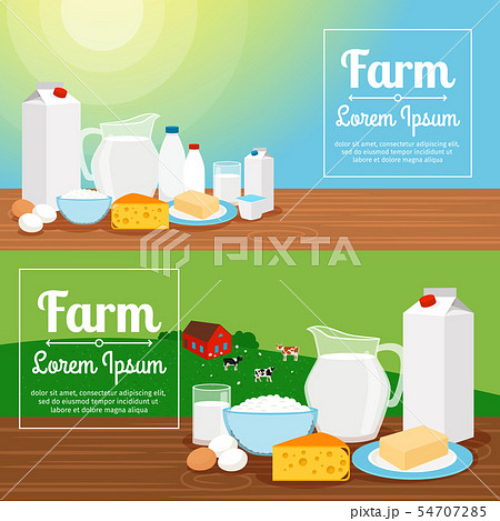 Milk farm dairy products banners 54707285