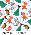 Christmas forest animals vector seamless pattern. Funny woodland animal characters repeat background 54707836