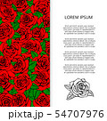Red roses and leaves banner design 54707976