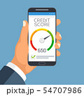 Credit score business report on smartphone screen. Credit rating meter app vector concept 54707986