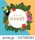 Tropical summer round frame design 54708383