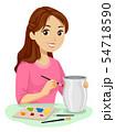 Teen Girl Ceramic Painting Illustration 54718590