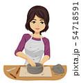 Teen Girl Ceramic Workshop Illustration 54718591