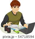 Teen Boy Study Exam Illustration 54718594