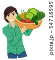 Teen Boy Gather Vegetable Illustration 54718595