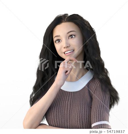 ロングヘアの女性 笑顔 perming3DCGイラスト素材 54719837