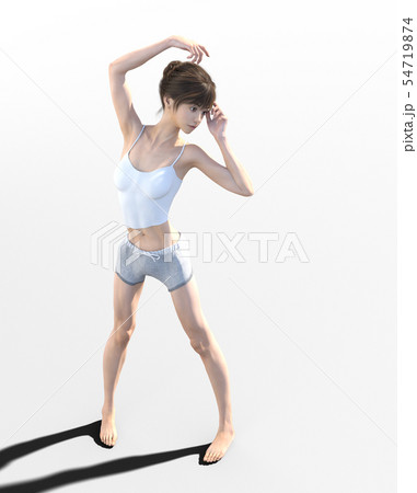 ルームウェアでリラックスする若い女性 perming3DCG イラスト素材 54719874