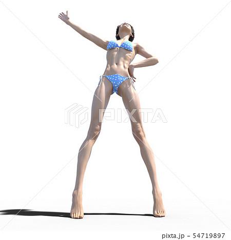 青い水玉ビキニの若い女性 perming3DCG イラスト素材 54719897