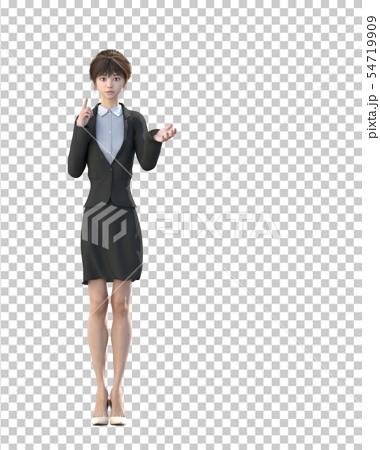 ビジネススーツを着た若い女性 perming3DCGイラスト素材 54719909