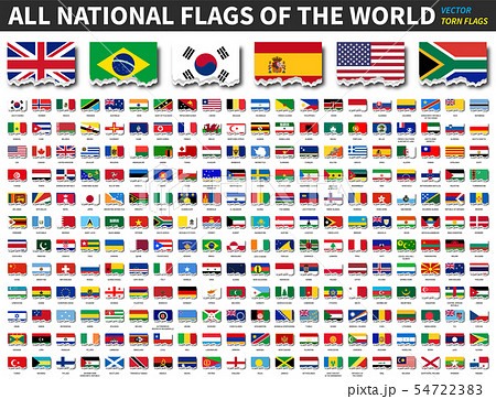 All national flags of the world . Torn paper 54722383