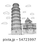 Piza square buildings in Italy vector illustration 54723997