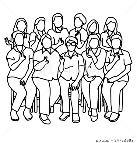 group of women showing mini heart gesture vector 54723998