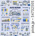 Car repair service infographics with spare parts 54732505