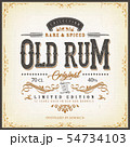 Vintage Old Rum Label For Bottle 54734103