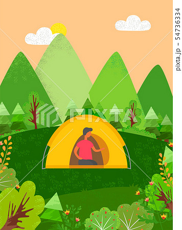 Person Sitting in Tent, Camping Male in Forest 54736334