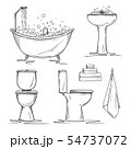 Hand drawn bathroom interior elements. 54737072