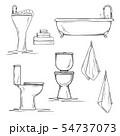 Hand drawn bathroom interior elements. 54737073