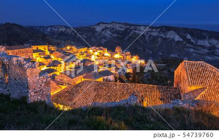 Sunrise over old famous medieval village Stilo in 54739760