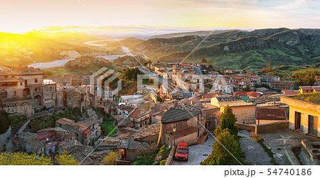 Sunrise over old famous medieval village Stilo in 54740186