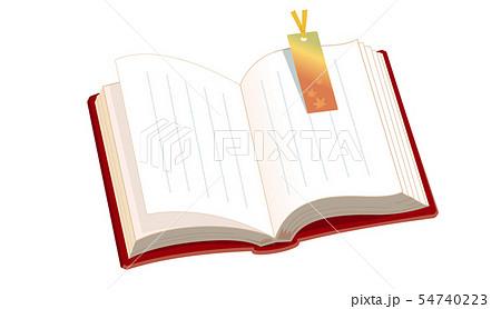 開いた本と秋のしおり 54740223