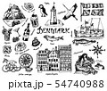 Symbols of Denmark in vintage style. Retro sketch with traditional signs. Scandinavian culture 54740988