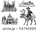 Norway culture. Set of national symbols. Norwegian Cathedral, wooden church, horseman in costume 54740989