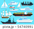 Set of sailboats, Sea ships and cargo boats sailing on blue water. Transport sailors for world 54740991
