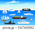 Sea ships background. Set of sailboats and cargo boats sailing on blue water. Transport sailors for 54740992